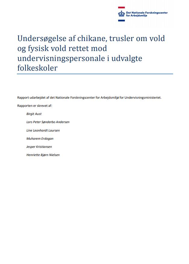 Rapportens forside med overblik over forfattere, der har bidraget til rapporten
