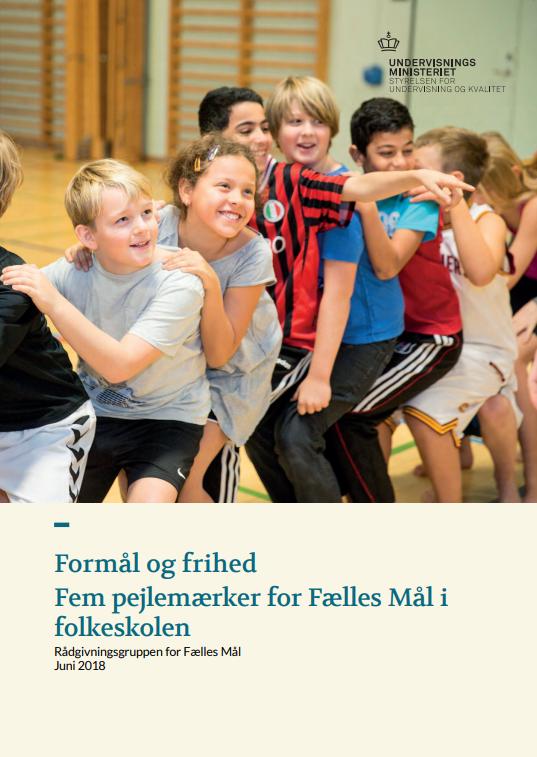 Rapportens forside. Børn i leg i gymnastiksal.