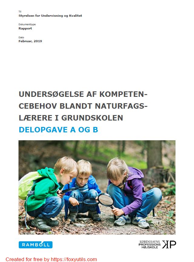 Forside til rapporten Undersøgelse af Kompetencebehov blandt naturfagslærere i grundskolen