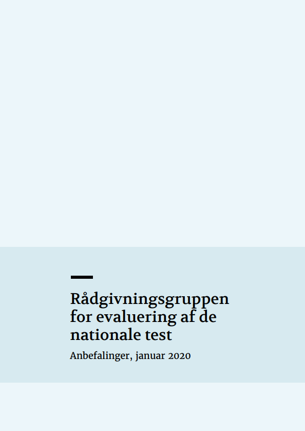"""Forside til publikationen """"Rådgivningsgruppen for evaluering af de nationale test""""."""