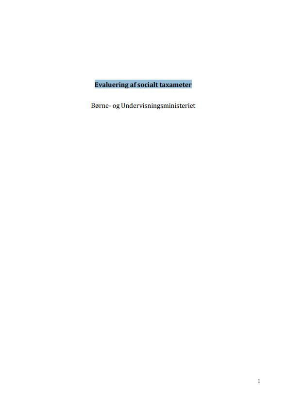 """Forside til publikationen """"Evaluering af socialt taxameter"""""""