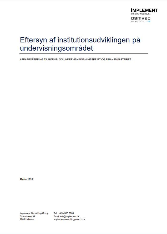 Forside til Eftersyn af institutionsudvikling på undervisningsområdet