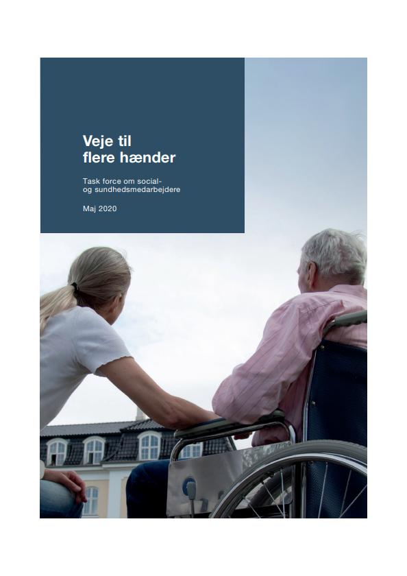 """Forside til publikationen """"Veje til flere hænder - Task force om socialog sundhedsmedarbejdere"""""""