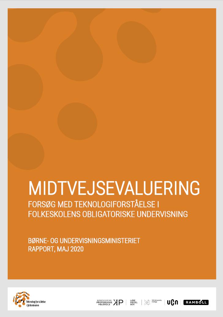 """Forside til rapporten """"Midtvejsevaluering - Forsøg med teknologiforståelse i folkeskolens obligatoriske undervisning"""""""