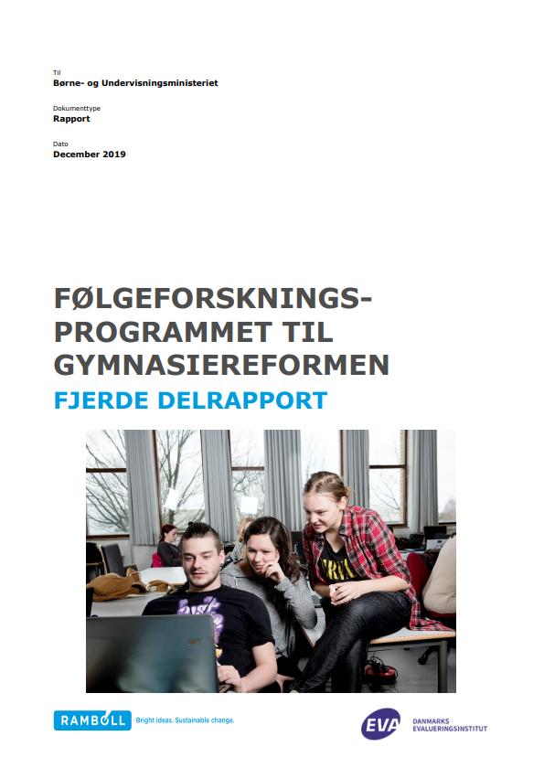 """Forside til publikationen """"Gymnasiereformen følgeforskningsprogram 4. delrapport"""""""