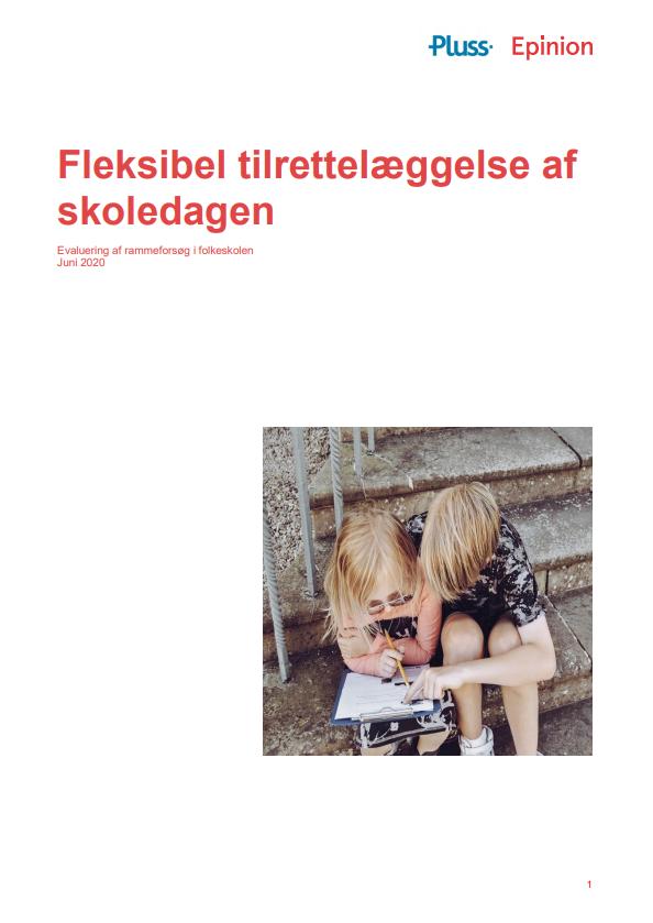 """Forside til publikationen """"Fleksibel tilrettelæggelse af skoledagen - Evaluering af rammeforsøg i folkeskolen"""""""